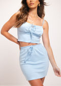 Cami Vest Crop Top Mini Skirt Co Ord Set Blue