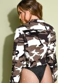 Camo Fray Hem Cropped Denim Jacket Khaki Green