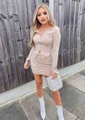 Stretch Waist Ribbed Mini Skirt Beige