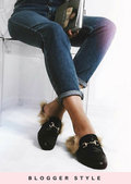 Faux Fur Flat Slip On Lined Mule Loafers Black