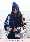 Shaggy Faux Fur Lined Multicoloured Jacket Coat Multi
