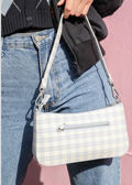 Checked Zip Mini Tote Bag Blue