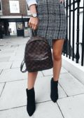 Checkered Faux Leather Straps Mini Backpack Brown