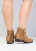 Chelsea Ankle Boots With Tassel Suede Camel