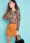 Leopard Print Mesh Bodysuit Multi