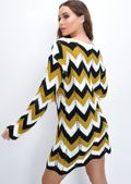 Chevron Knit Dress Mustard Yellow