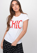 Chic Pearl Embellished Slogan T-Shirt White
