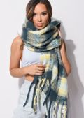 Chunky Check Fringed Knit Scarf Yellow