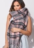 Chunky Check Fringed Knit Scarf Pink