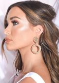 Chunky Circle Textured Drop Earrings Gold