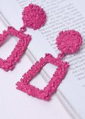 Chunky Geometric Textured Statement Earrings Fuchsia Pink