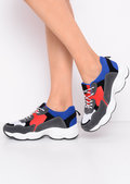 Chunky Lace Up Trainers Blue