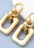 Chunky Square Linked Alloy Earrings Gold