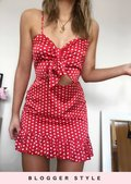 Polka Dot Bow Tie Front Frill Mini Dress Red