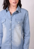 Classic Fitted Denim Shirt Light Blue