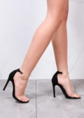 Clear Strap Stiletto Barely There Heels Black