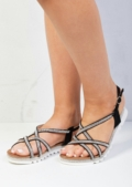 Cleated Strappy Diamante Embellished Sandals Black