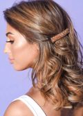 Cluster Beaded Hair Slide Brown