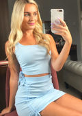 Ruched Ribbed Crop Top and Skirt Co Ord Set Blue