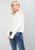 Cold Shoulder Lace Up Knit Jumper White