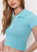 Collared Knitted Crop Top Green