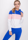 Colour Block Stripe Hooded Loungewear Set Blue