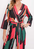 Colour Block Tie Waist Jumpsuit Multi