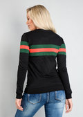 Contrast Stripe Jumper Sweatshirt Black