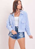 Cord Button Through Crop Trucker Jacket Blue
