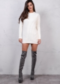 Crew Neck Cable Knitted Jumper Dress Cream White