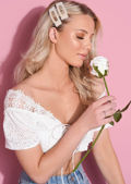 Crochet Bardot Lace Up Crop Top White
