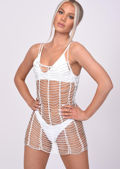 Crochet Beaded Mini Beach Dress White