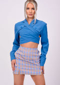 Cropped Button Wrap Around Shirt Top Blue