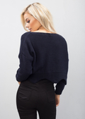 Cropped Cable Knit Jumper Navy Blue