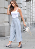Cropped Culotte Trousers Light Blue