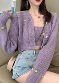 Cropped Embroidered Knitted Cardigan Top Co Ord Set Purple