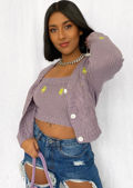 Embroidered Knitted Cropped Cardigan Top And Vest Co Ord Set Purple