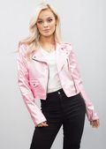 Cropped Faux Leather Biker Jacket Pink