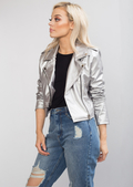 Cropped Faux Leather Biker Jacket Silver