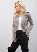Cropped Faux Suede Biker Jacket Grey