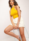 Cropped Fluffy Halterneck Top Bright Yellow