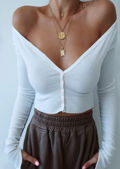 Cropped Ribbed Button Cardigan Top White