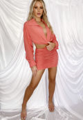 Cropped Shirt Shirred Mini Skirt Co Ord Set Coral Pink