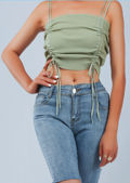Cropped Ribbed Ruched Drawstring Crop Top Green