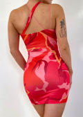 Abstract Cross Strapped Cut Out Mini Bodycon Dress Red