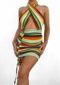 Cross Over Halterneck Cut Out Side Ruched Mini Bodycon Dress Multi