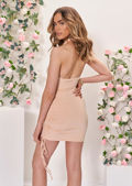 Cross Over Halterneck Cut Out Side Ruched Mini Bodycon Dress Beige
