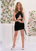 Cross Over Halterneck Cut Out Side Ruched Mini Bodycon Dress Black