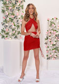 Cross Over Halterneck Cut Out Side Ruched Mini Bodycon Dress Red