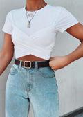 Cross Over Tie Back T shirt Crop Top White
